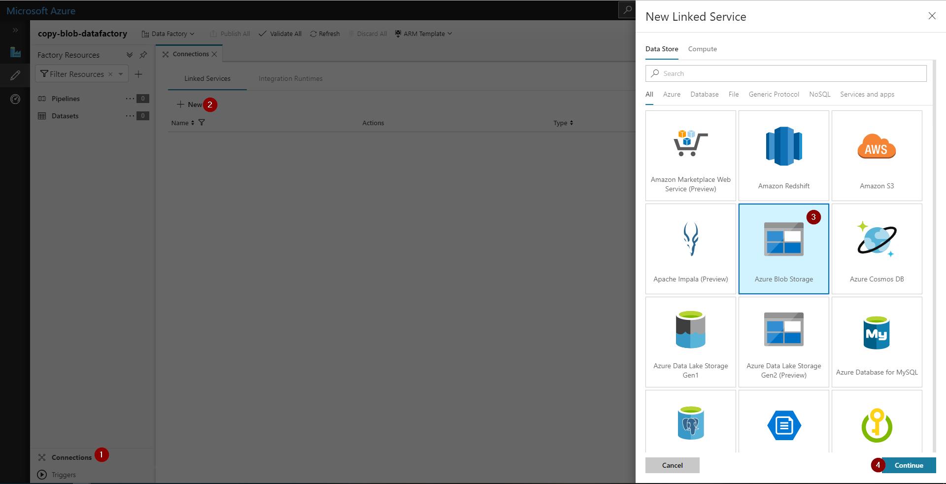 Create linked service menu